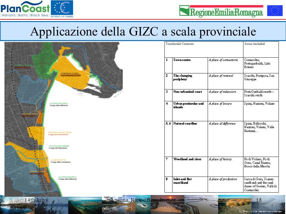 14th JulyAncona, Kick-off conference18 Applicazione della GIZC a scala provinciale