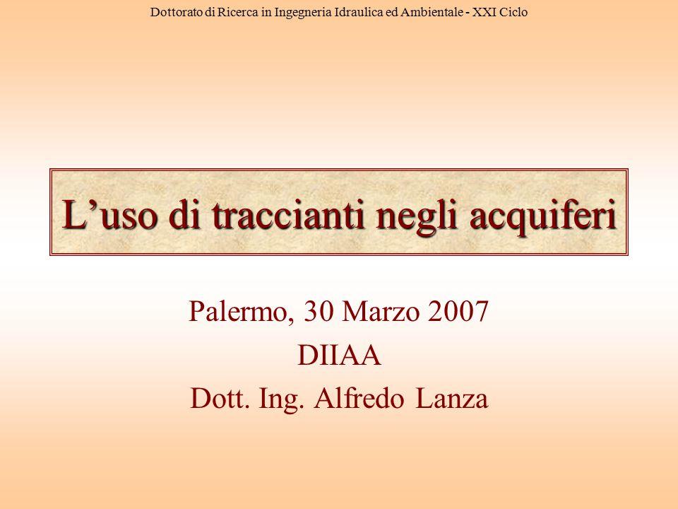 Dottorato di Ricerca in Ingegneria Idraulica ed Ambientale - XXI Ciclo L'uso di traccianti negli acquiferi Palermo, 30 Marzo 2007 DIIAA Dott. Ing. Alf