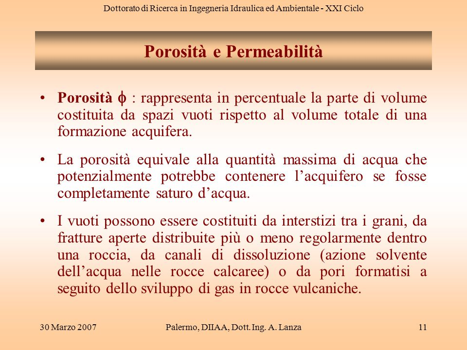 Dottorato di Ricerca in Ingegneria Idraulica ed Ambientale - XXI Ciclo 30 Marzo 2007Palermo, DIIAA, Dott. Ing. A. Lanza11 Porosità  : rappresenta in
