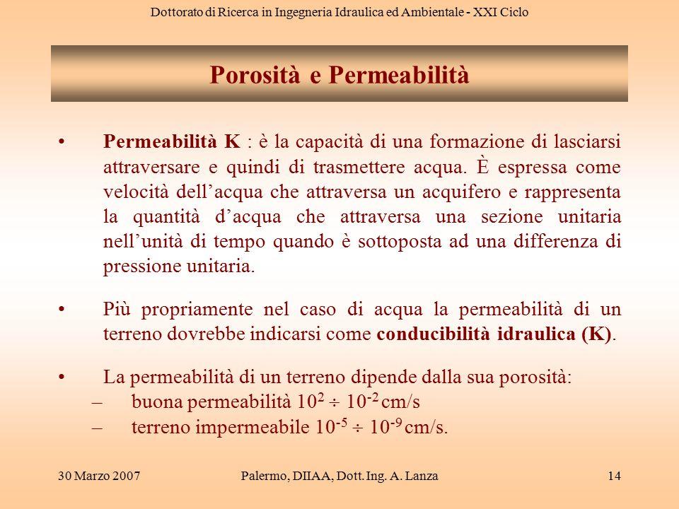 Dottorato di Ricerca in Ingegneria Idraulica ed Ambientale - XXI Ciclo 30 Marzo 2007Palermo, DIIAA, Dott. Ing. A. Lanza14 Permeabilità K : è la capaci