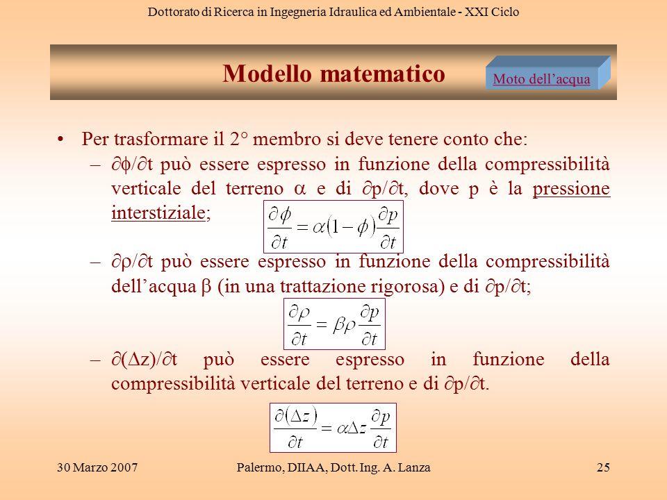 Dottorato di Ricerca in Ingegneria Idraulica ed Ambientale - XXI Ciclo 30 Marzo 2007Palermo, DIIAA, Dott. Ing. A. Lanza25 Modello matematico Per trasf