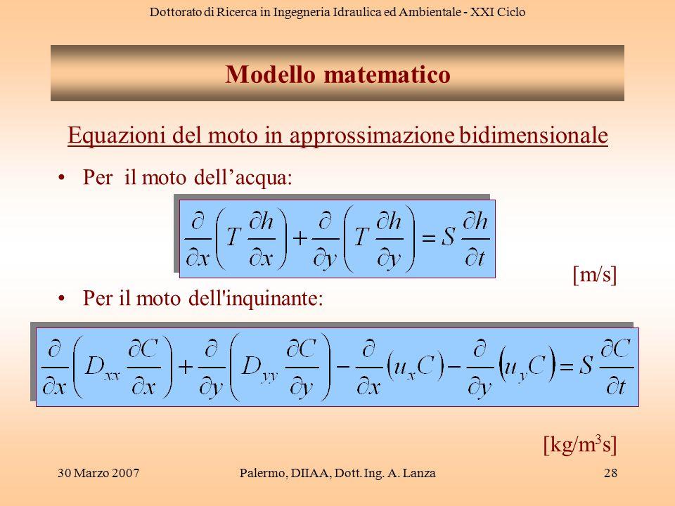 Dottorato di Ricerca in Ingegneria Idraulica ed Ambientale - XXI Ciclo 30 Marzo 2007Palermo, DIIAA, Dott. Ing. A. Lanza28 Equazioni del moto in appros