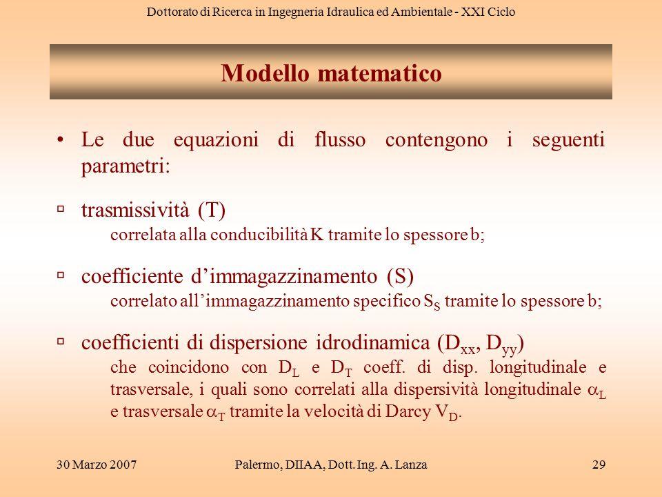 Dottorato di Ricerca in Ingegneria Idraulica ed Ambientale - XXI Ciclo 30 Marzo 2007Palermo, DIIAA, Dott. Ing. A. Lanza29 Le due equazioni di flusso c