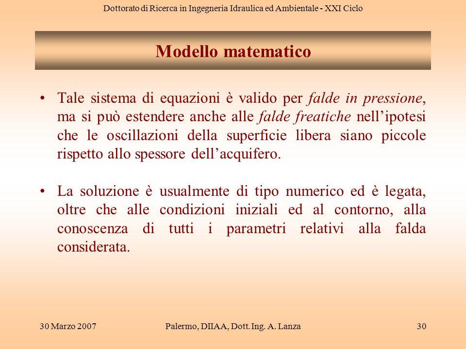 Dottorato di Ricerca in Ingegneria Idraulica ed Ambientale - XXI Ciclo 30 Marzo 2007Palermo, DIIAA, Dott. Ing. A. Lanza30 Tale sistema di equazioni è