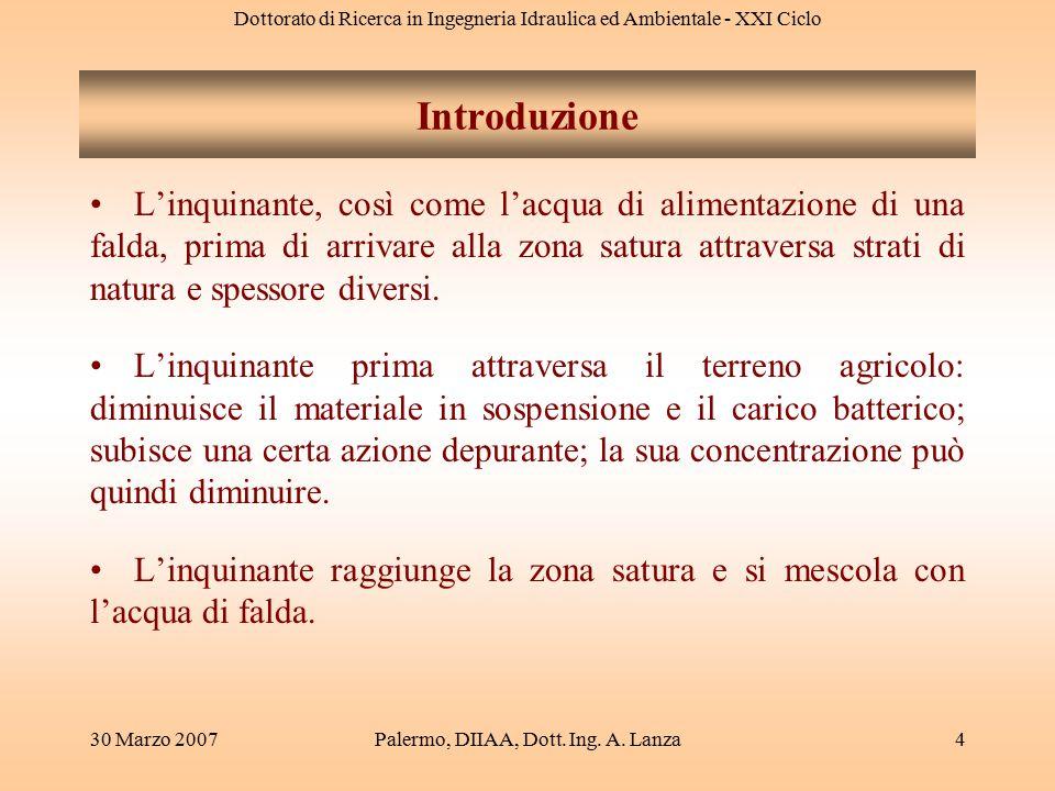 Dottorato di Ricerca in Ingegneria Idraulica ed Ambientale - XXI Ciclo 30 Marzo 2007Palermo, DIIAA, Dott. Ing. A. Lanza4 L'inquinante, così come l'acq