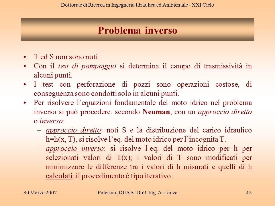 Dottorato di Ricerca in Ingegneria Idraulica ed Ambientale - XXI Ciclo 30 Marzo 2007Palermo, DIIAA, Dott. Ing. A. Lanza42 T ed S non sono noti. Con il