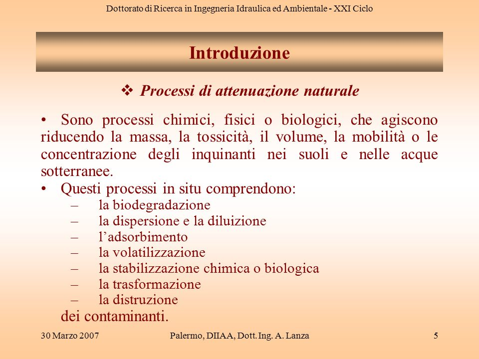 Dottorato di Ricerca in Ingegneria Idraulica ed Ambientale - XXI Ciclo 30 Marzo 2007Palermo, DIIAA, Dott. Ing. A. Lanza5  Processi di attenuazione na