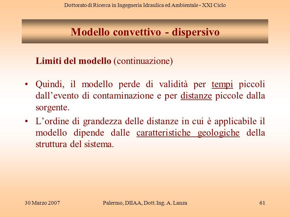 Dottorato di Ricerca in Ingegneria Idraulica ed Ambientale - XXI Ciclo 30 Marzo 2007Palermo, DIIAA, Dott. Ing. A. Lanza61 Modello convettivo - dispers
