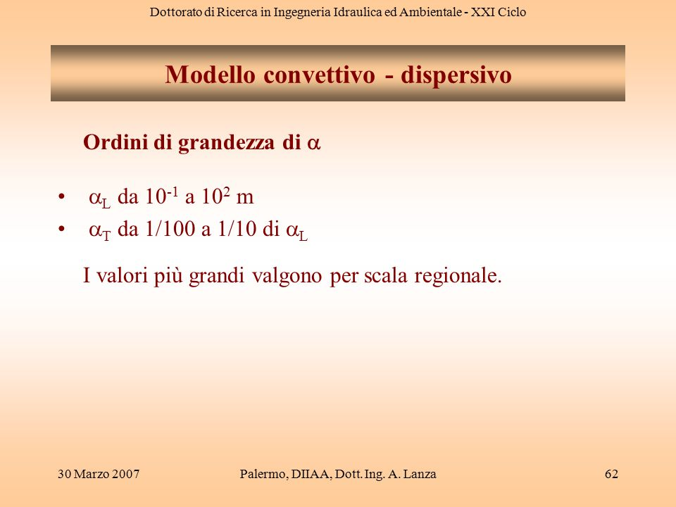 Dottorato di Ricerca in Ingegneria Idraulica ed Ambientale - XXI Ciclo 30 Marzo 2007Palermo, DIIAA, Dott. Ing. A. Lanza62 Modello convettivo - dispers
