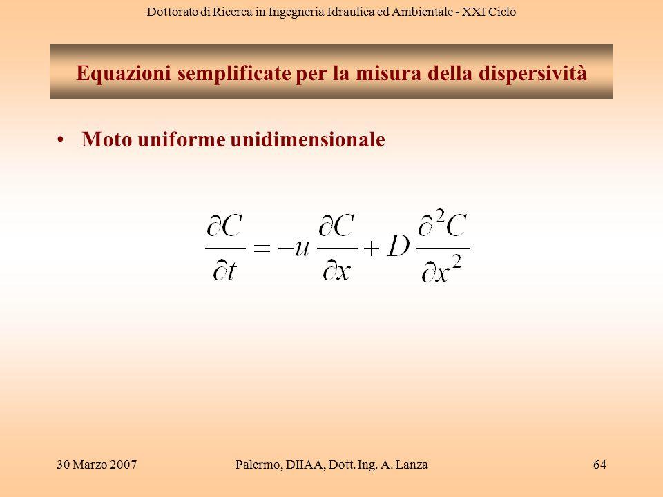 Dottorato di Ricerca in Ingegneria Idraulica ed Ambientale - XXI Ciclo 30 Marzo 2007Palermo, DIIAA, Dott. Ing. A. Lanza64 Equazioni semplificate per l