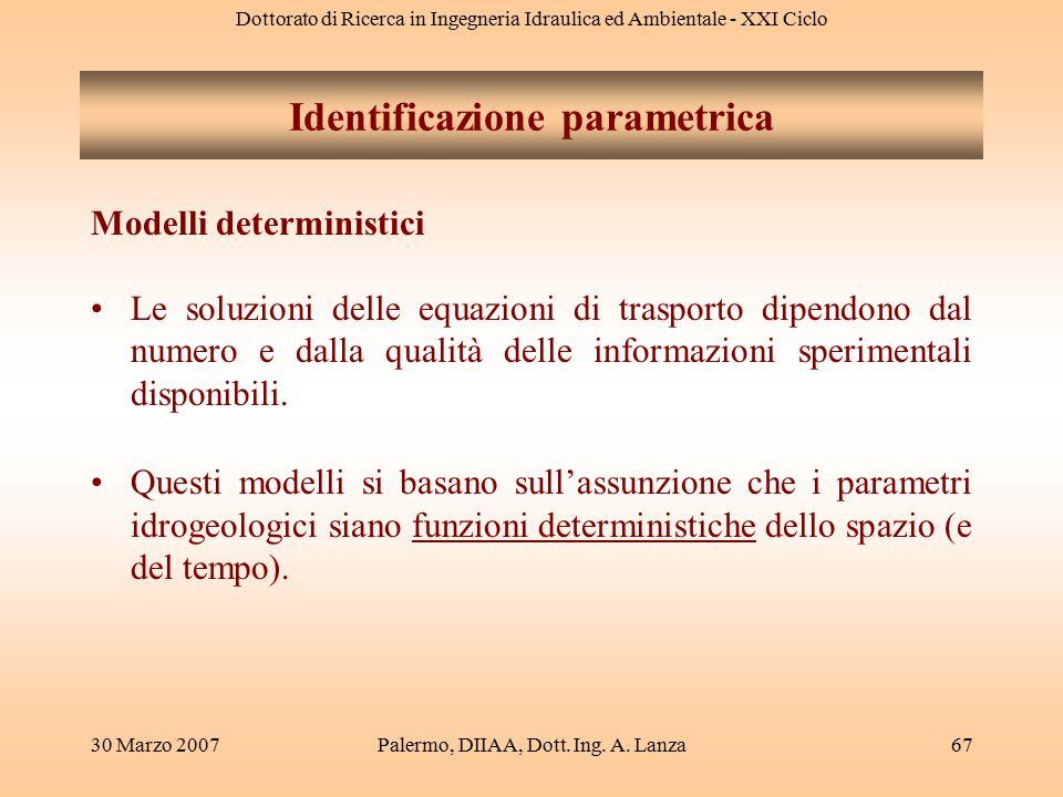 Dottorato di Ricerca in Ingegneria Idraulica ed Ambientale - XXI Ciclo 30 Marzo 2007Palermo, DIIAA, Dott. Ing. A. Lanza67 Modelli deterministici Le so