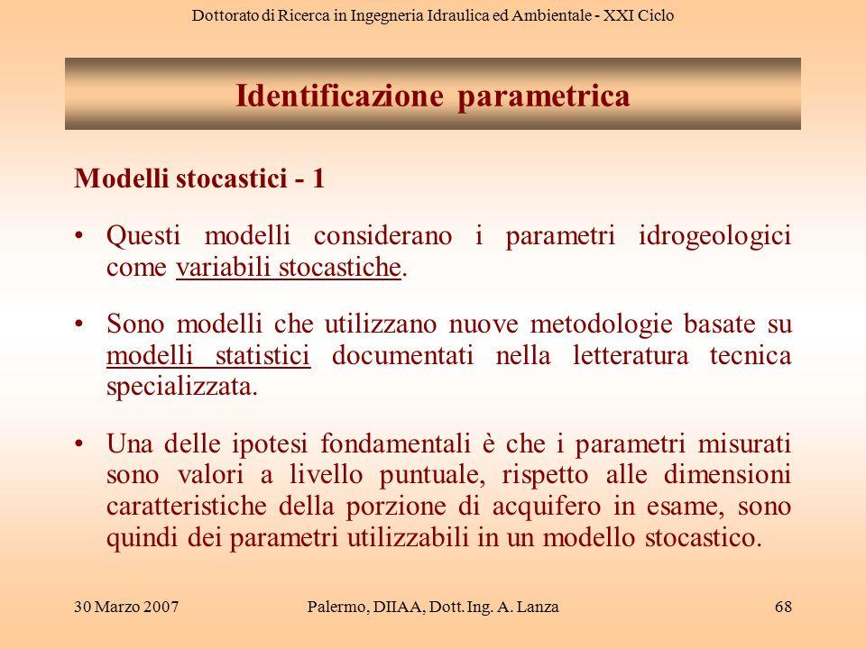 Dottorato di Ricerca in Ingegneria Idraulica ed Ambientale - XXI Ciclo 30 Marzo 2007Palermo, DIIAA, Dott. Ing. A. Lanza68 Modelli stocastici - 1 Quest