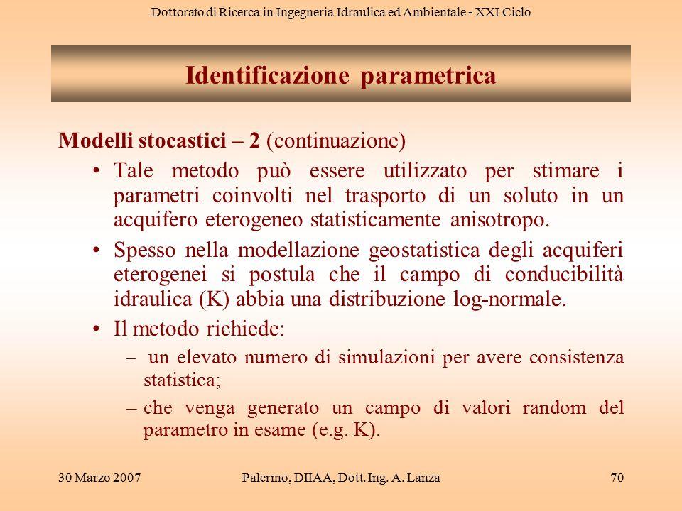 Dottorato di Ricerca in Ingegneria Idraulica ed Ambientale - XXI Ciclo 30 Marzo 2007Palermo, DIIAA, Dott. Ing. A. Lanza70 Modelli stocastici – 2 (cont