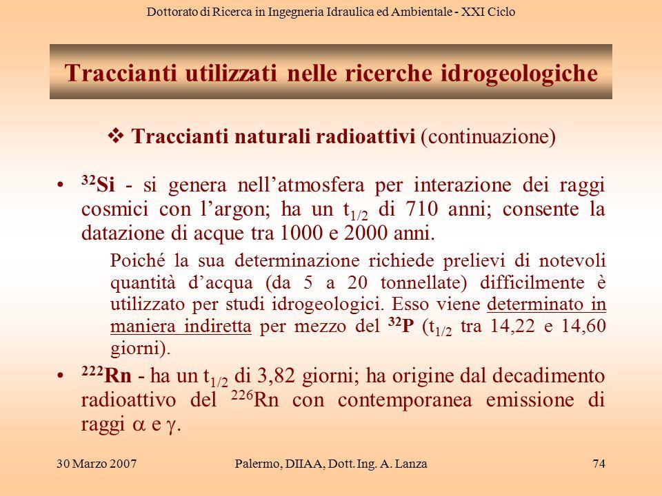 Dottorato di Ricerca in Ingegneria Idraulica ed Ambientale - XXI Ciclo 30 Marzo 2007Palermo, DIIAA, Dott. Ing. A. Lanza74  Traccianti naturali radioa
