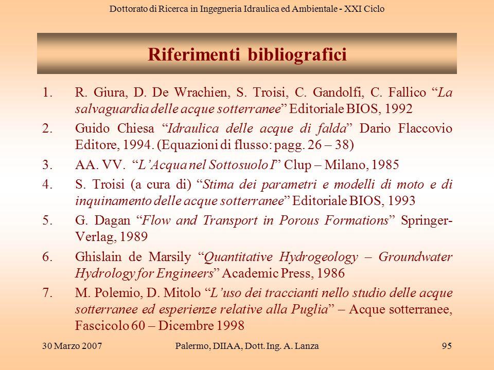 Dottorato di Ricerca in Ingegneria Idraulica ed Ambientale - XXI Ciclo 30 Marzo 2007Palermo, DIIAA, Dott. Ing. A. Lanza95 Riferimenti bibliografici 1.