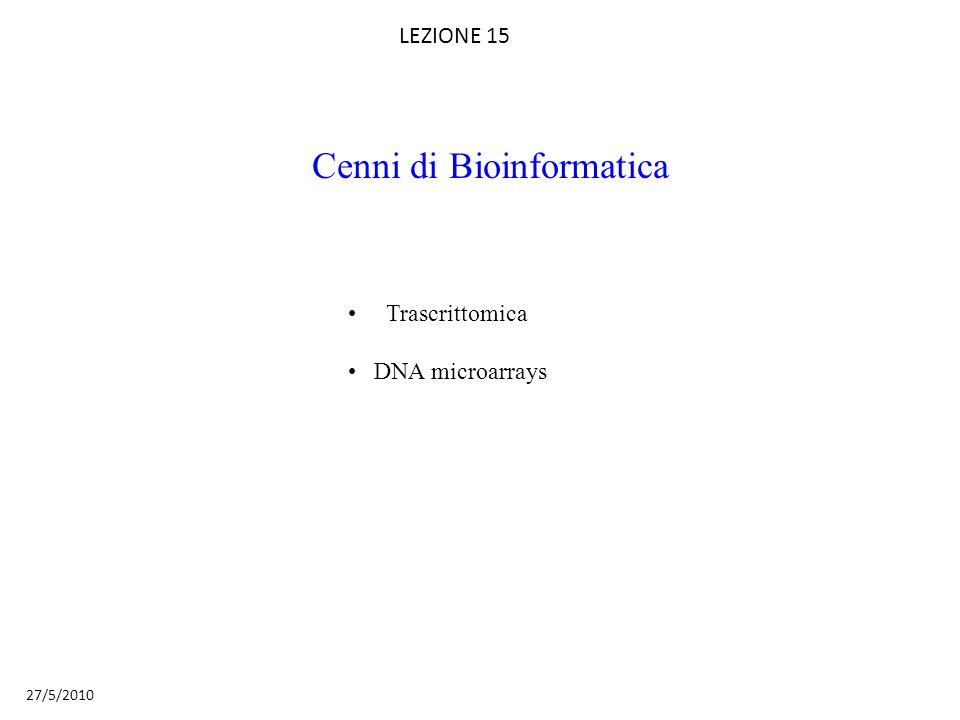 Trascrittomica DNA microarrays LEZIONE 15 27/5/2010 Cenni di Bioinformatica
