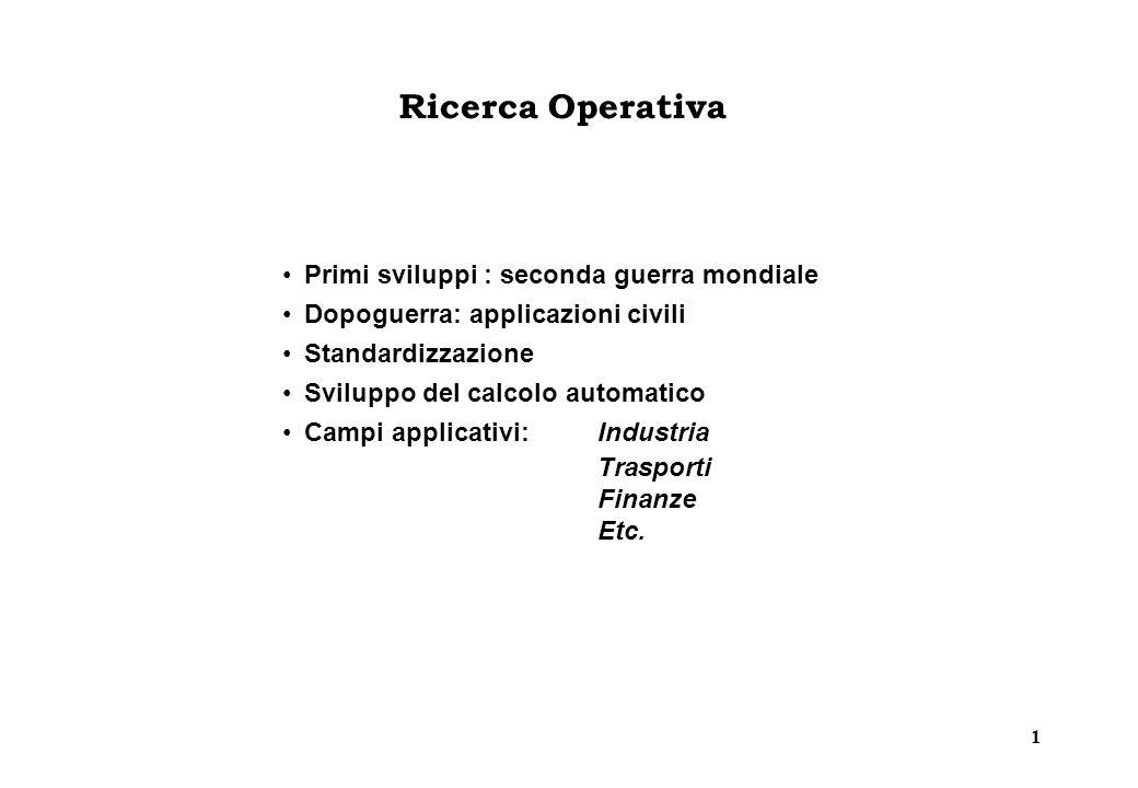 1 Ricerca Operativa Primi sviluppi : seconda guerra mondiale Dopoguerra: applicazioni civili Standardizzazione Sviluppo del calcolo automatico Campi applicativi:Industria Trasporti Finanze Etc.