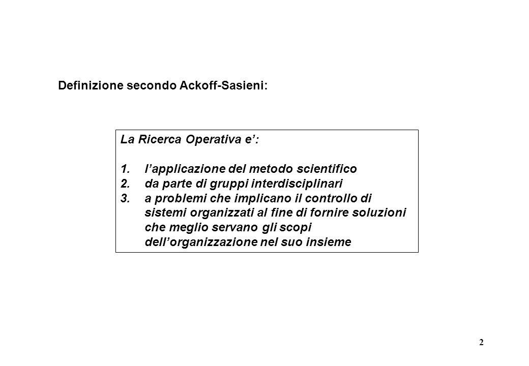 2 Definizione secondo Ackoff-Sasieni: La Ricerca Operativa e': 1.l'applicazione del metodo scientifico 2.da parte di gruppi interdisciplinari 3.a problemi che implicano il controllo di sistemi organizzati al fine di fornire soluzioni che meglio servano gli scopi dell'organizzazione nel suo insieme