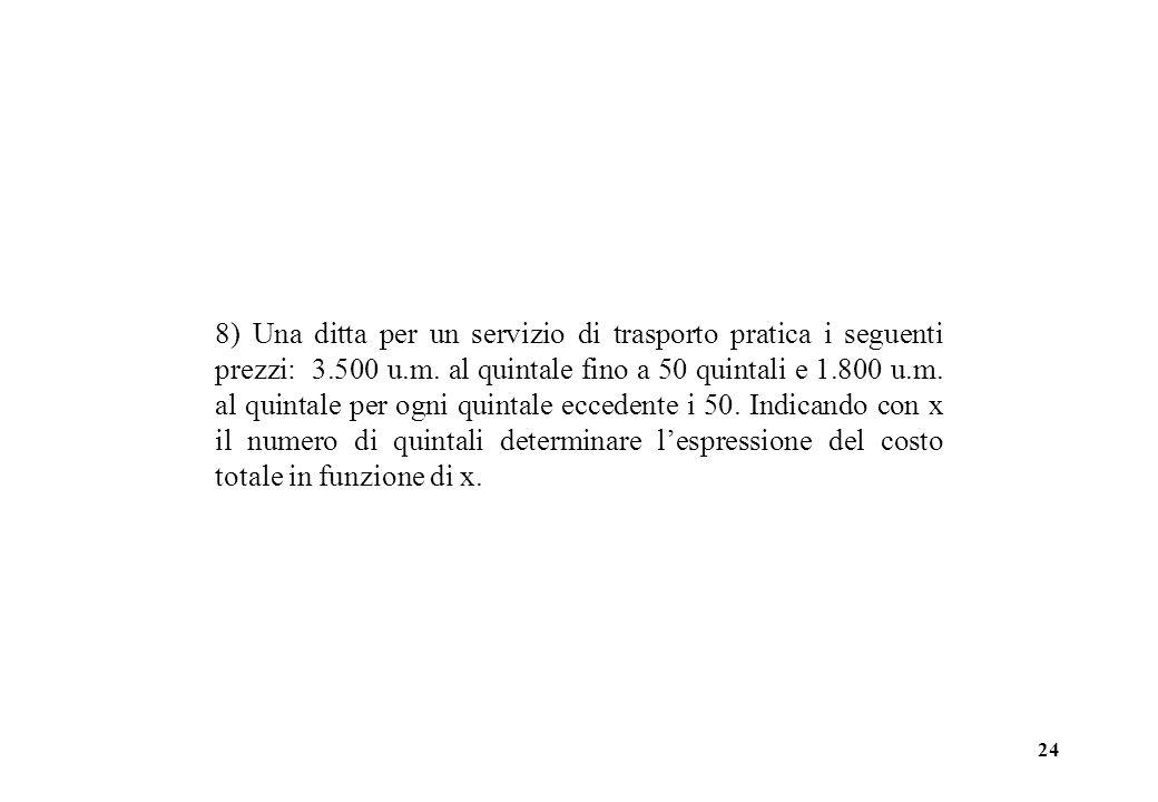 24 8) Una ditta per un servizio di trasporto pratica i seguenti prezzi: 3.500 u.m.