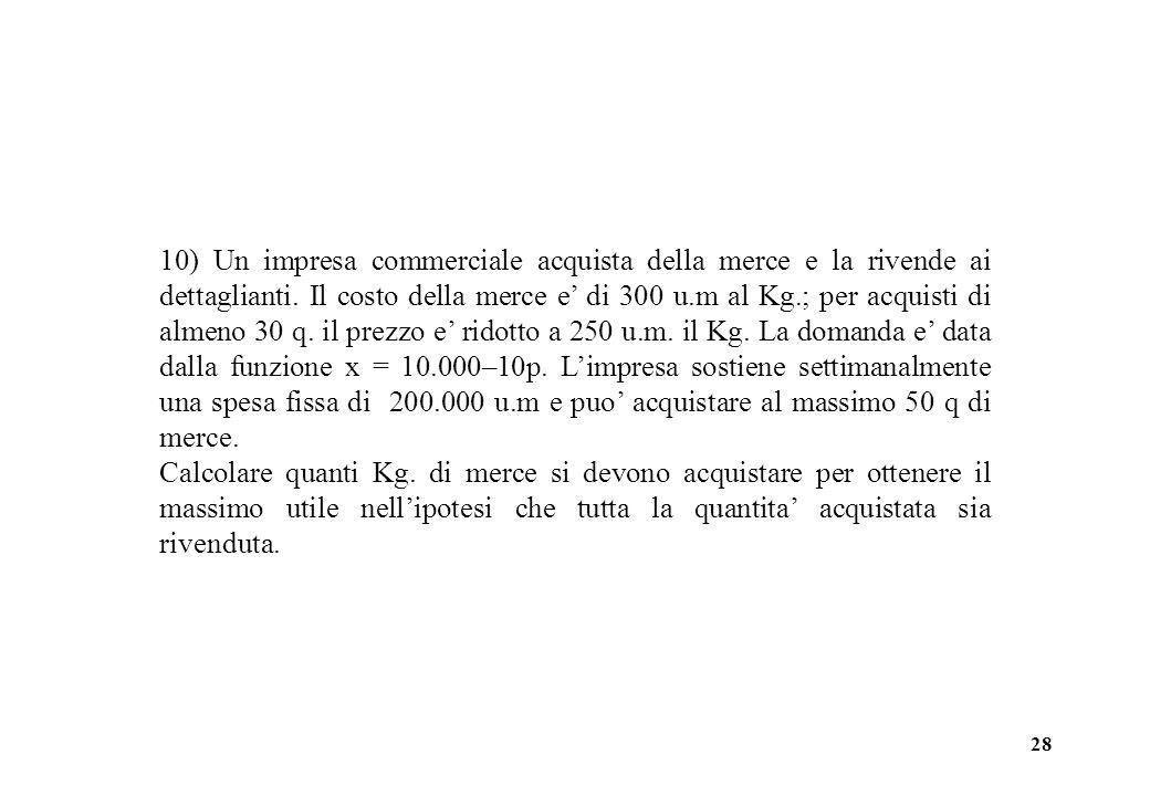 28 10) Un impresa commerciale acquista della merce e la rivende ai dettaglianti.