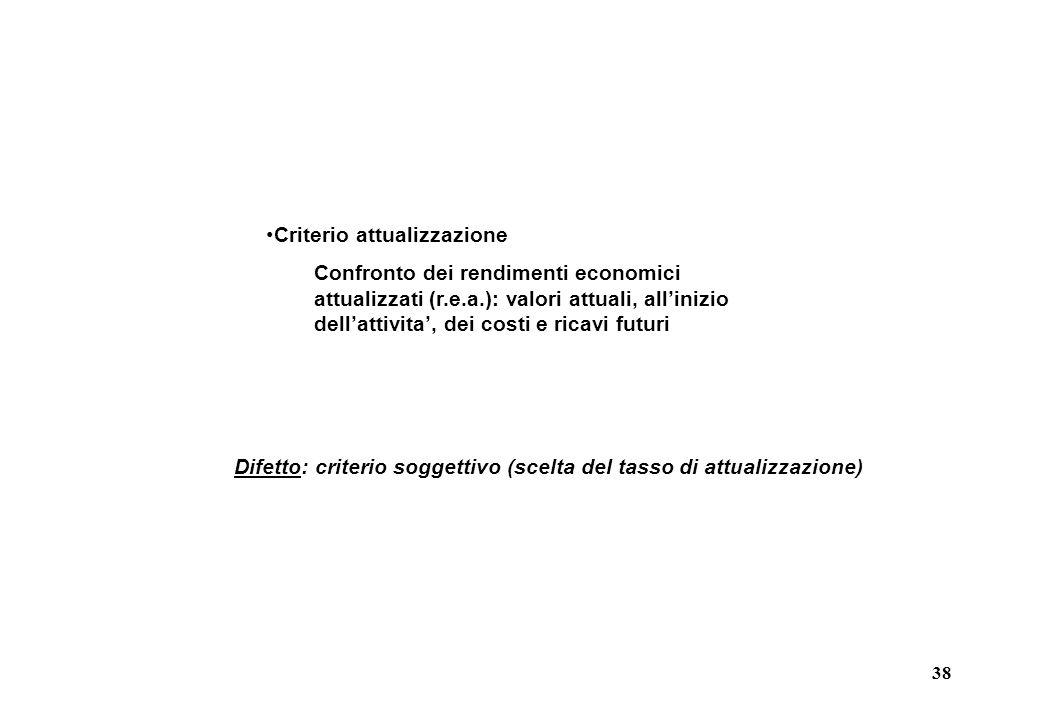 38 Criterio attualizzazione Confronto dei rendimenti economici attualizzati (r.e.a.): valori attuali, all'inizio dell'attivita', dei costi e ricavi futuri Difetto: criterio soggettivo (scelta del tasso di attualizzazione)