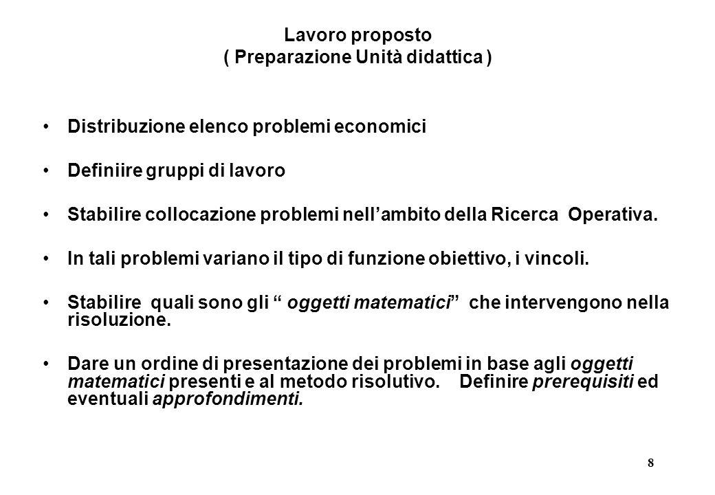 8 Lavoro proposto ( Preparazione Unità didattica ) Distribuzione elenco problemi economici Definiire gruppi di lavoro Stabilire collocazione problemi nell'ambito della Ricerca Operativa.