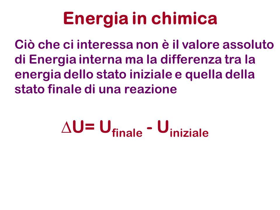 Energia in chimica Ciò che ci interessa non è il valore assoluto di Energia interna ma la differenza tra la energia dello stato iniziale e quella dell