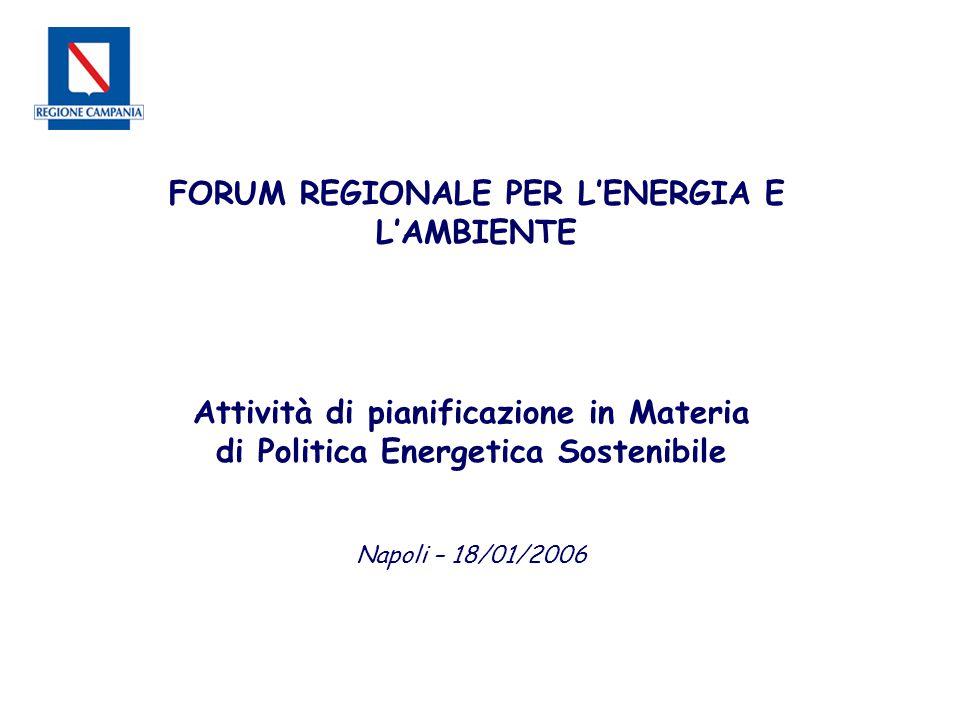 Attività di pianificazione in Materia di Politica Energetica Sostenibile Napoli – 18/01/2006 FORUM REGIONALE PER L'ENERGIA E L'AMBIENTE
