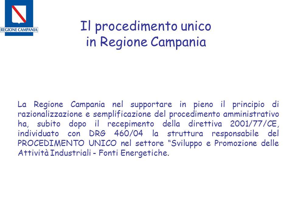 Il procedimento unico in Regione Campania La Regione Campania nel supportare in pieno il principio di razionalizzazione e semplificazione del procedim