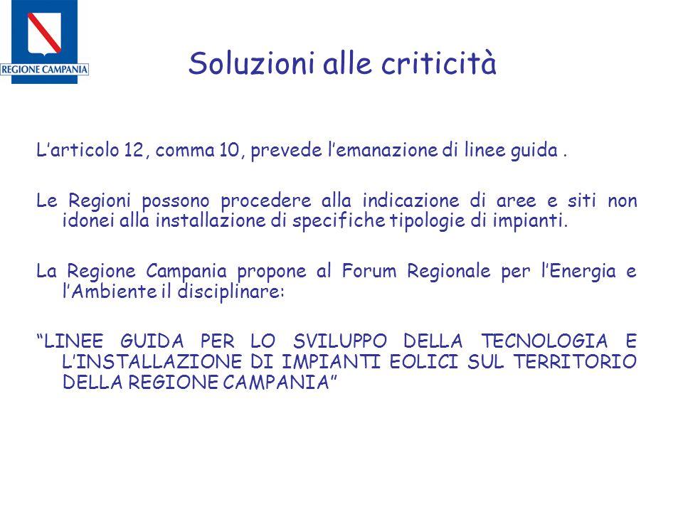 Soluzioni alle criticità L'articolo 12, comma 10, prevede l'emanazione di linee guida. Le Regioni possono procedere alla indicazione di aree e siti no