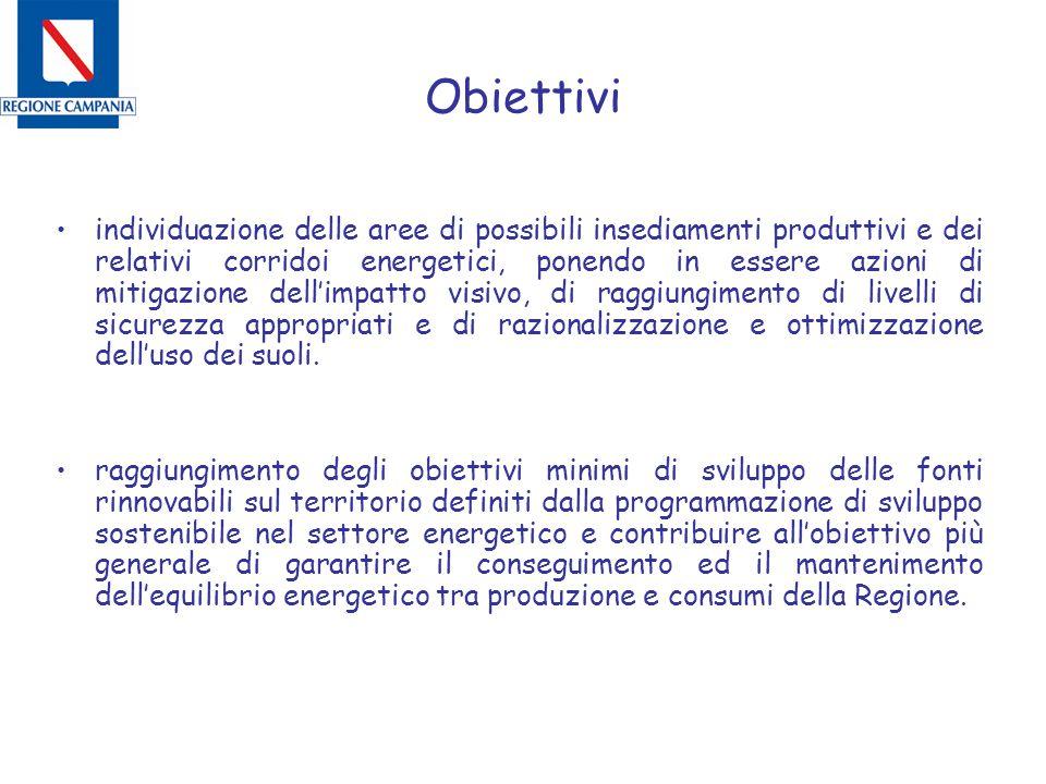 Obiettivi individuazione delle aree di possibili insediamenti produttivi e dei relativi corridoi energetici, ponendo in essere azioni di mitigazione d