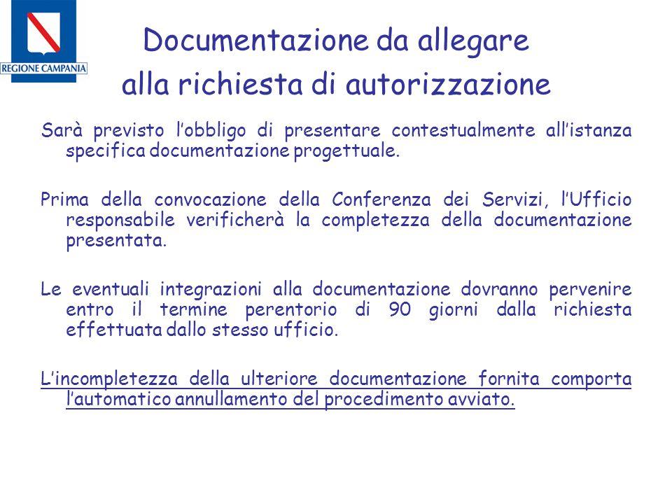 Documentazione da allegare alla richiesta di autorizzazione Sarà previsto l'obbligo di presentare contestualmente all'istanza specifica documentazione