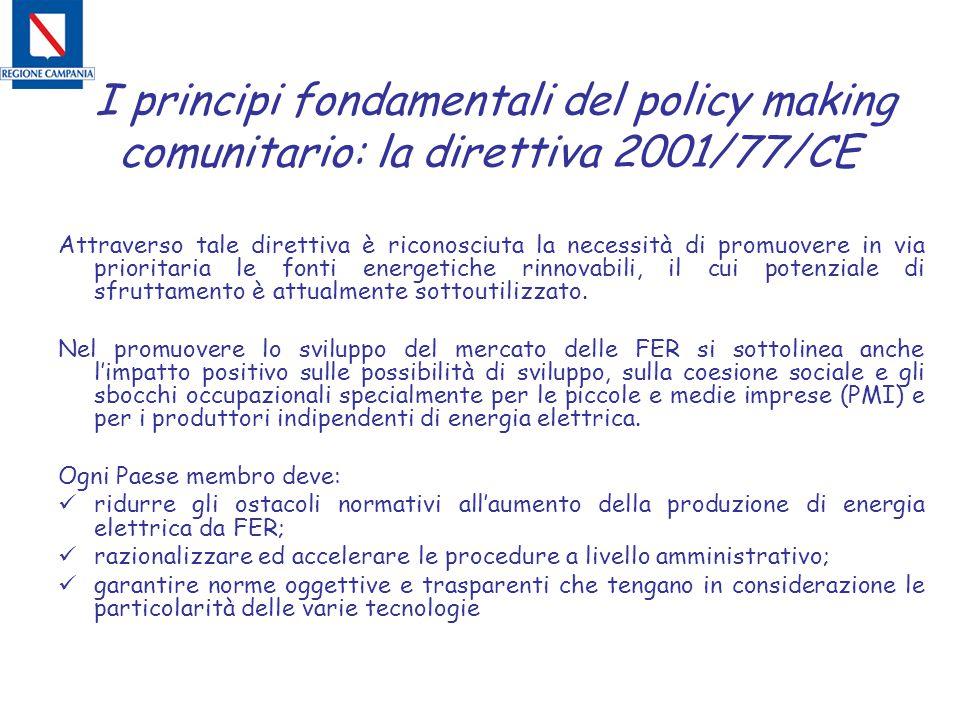 I principi fondamentali del policy making comunitario: la direttiva 2001/77/CE Attraverso tale direttiva è riconosciuta la necessità di promuovere in via prioritaria le fonti energetiche rinnovabili, il cui potenziale di sfruttamento è attualmente sottoutilizzato.