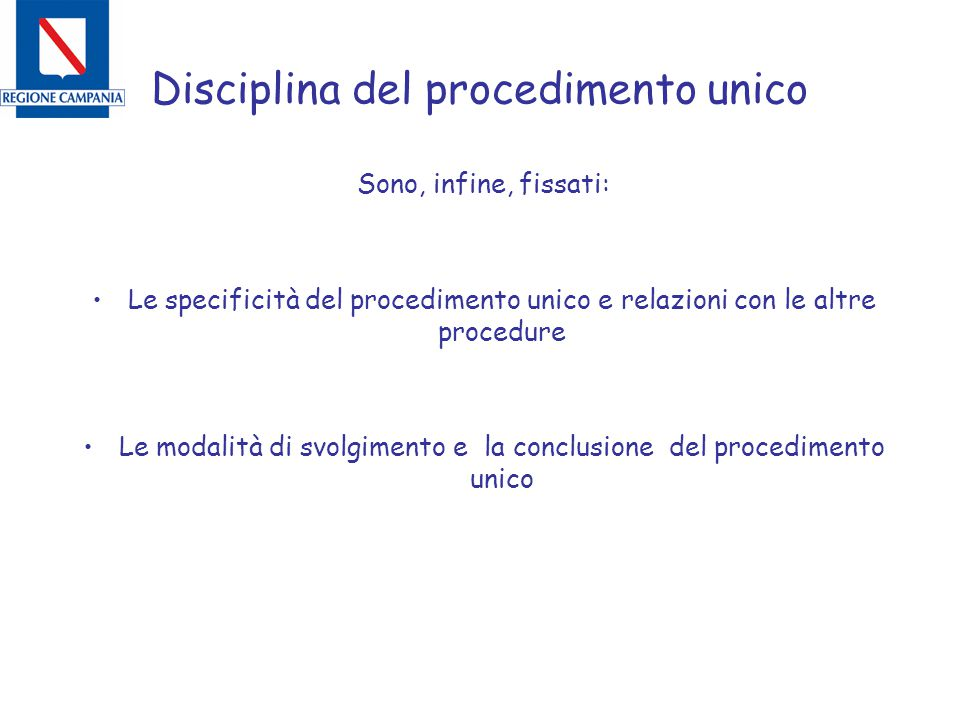 Disciplina del procedimento unico Sono, infine, fissati: Le specificità del procedimento unico e relazioni con le altre procedure Le modalità di svolg