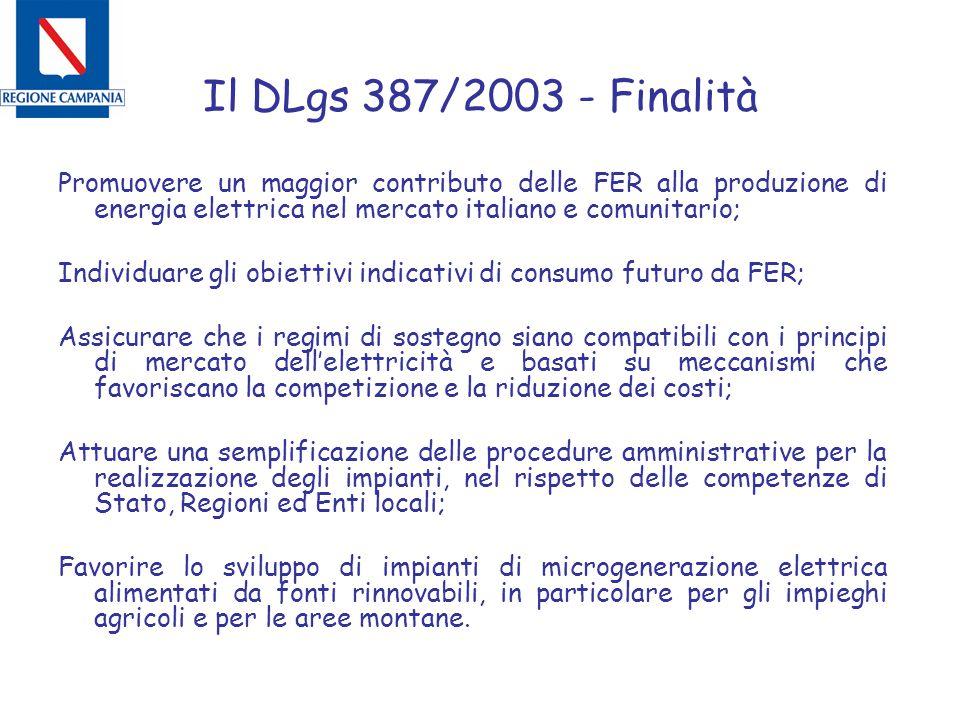 Il DLgs 387/2003 - Finalità Promuovere un maggior contributo delle FER alla produzione di energia elettrica nel mercato italiano e comunitario; Individuare gli obiettivi indicativi di consumo futuro da FER; Assicurare che i regimi di sostegno siano compatibili con i principi di mercato dell'elettricità e basati su meccanismi che favoriscano la competizione e la riduzione dei costi; Attuare una semplificazione delle procedure amministrative per la realizzazione degli impianti, nel rispetto delle competenze di Stato, Regioni ed Enti locali; Favorire lo sviluppo di impianti di microgenerazione elettrica alimentati da fonti rinnovabili, in particolare per gli impieghi agricoli e per le aree montane.
