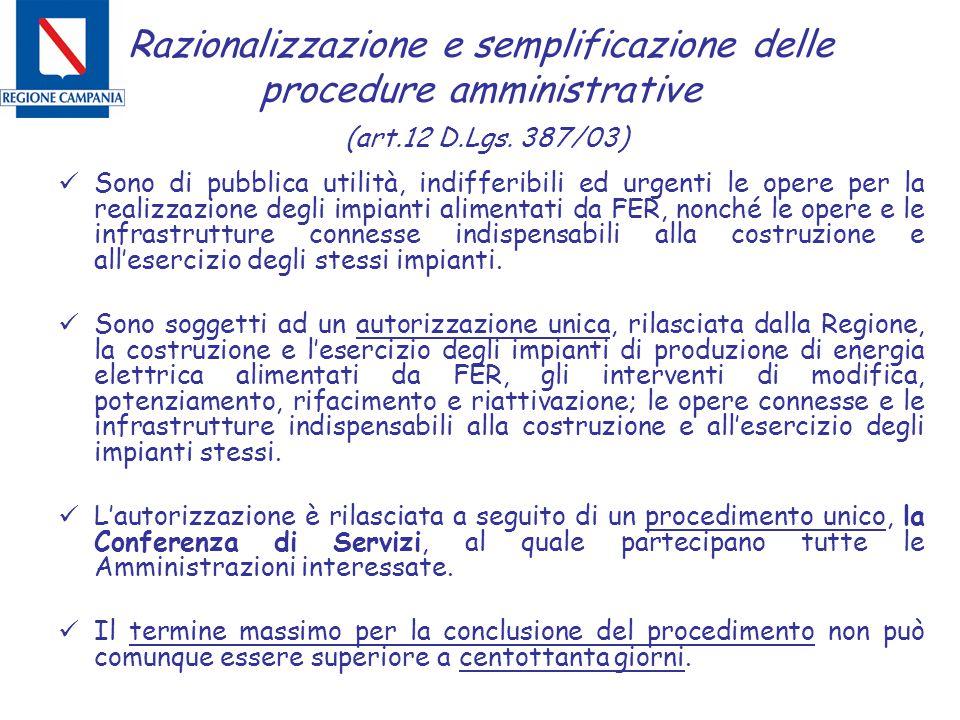 Razionalizzazione e semplificazione delle procedure amministrative (art.12 D.Lgs. 387/03) Sono di pubblica utilità, indifferibili ed urgenti le opere