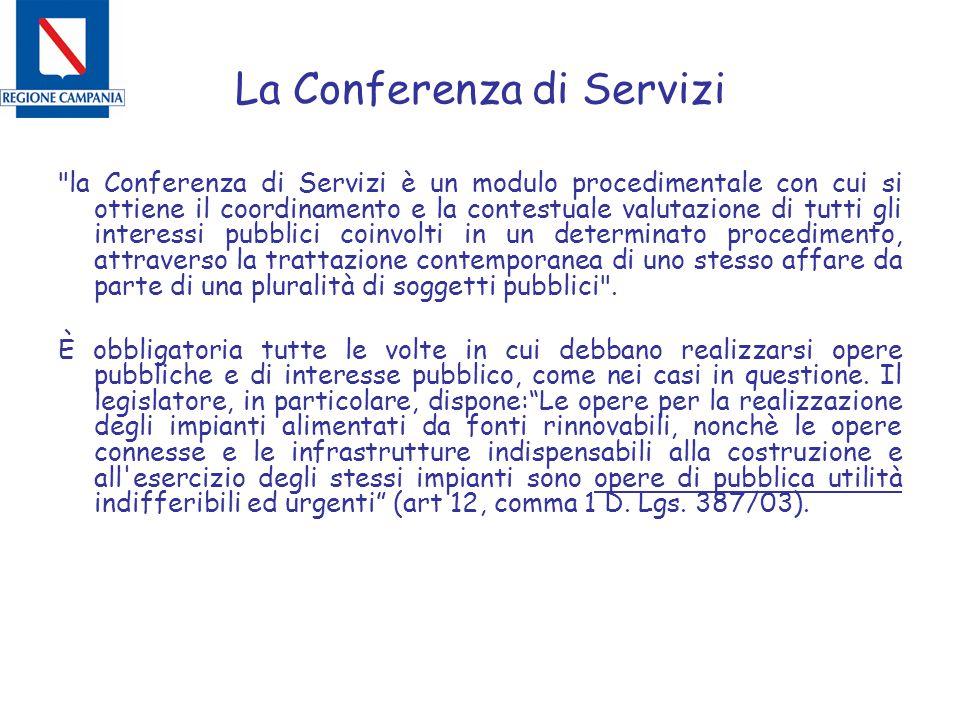 La Conferenza di Servizi la Conferenza di Servizi è un modulo procedimentale con cui si ottiene il coordinamento e la contestuale valutazione di tutti gli interessi pubblici coinvolti in un determinato procedimento, attraverso la trattazione contemporanea di uno stesso affare da parte di una pluralità di soggetti pubblici .