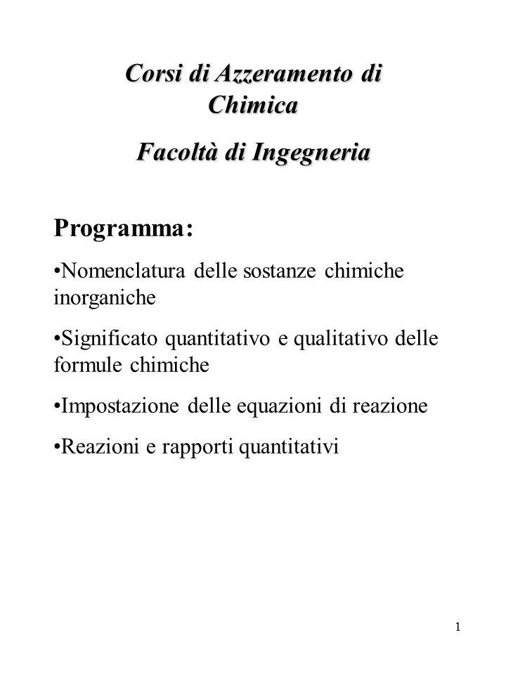 1 Corsi di Azzeramento di Chimica Facoltà di Ingegneria Programma: Nomenclatura delle sostanze chimiche inorganiche Significato quantitativo e qualita