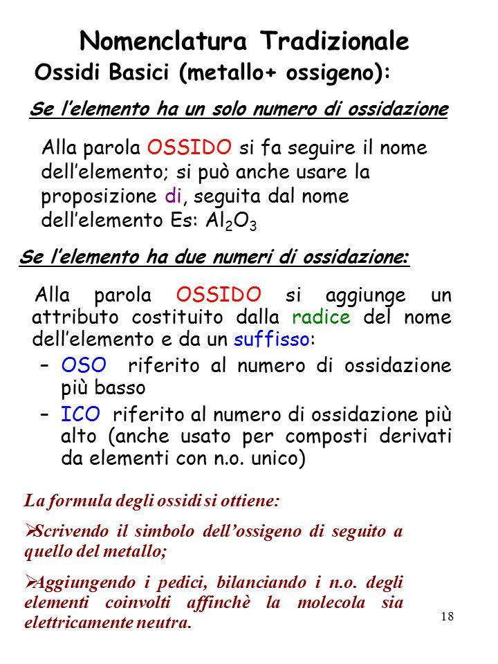 18 Nomenclatura Tradizionale Ossidi Basici (metallo+ ossigeno): Se l'elemento ha un solo numero di ossidazione Alla parola OSSIDO si fa seguire il nom