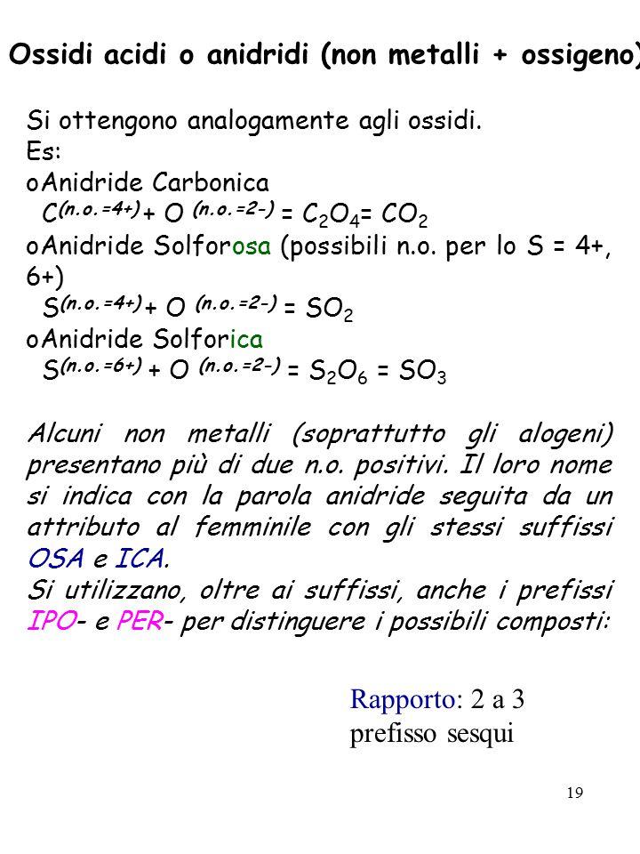 19 Ossidi acidi o anidridi (non metalli + ossigeno) Si ottengono analogamente agli ossidi. Es: oAnidride Carbonica C (n.o.=4+) + O (n.o.=2-) = C 2 O 4