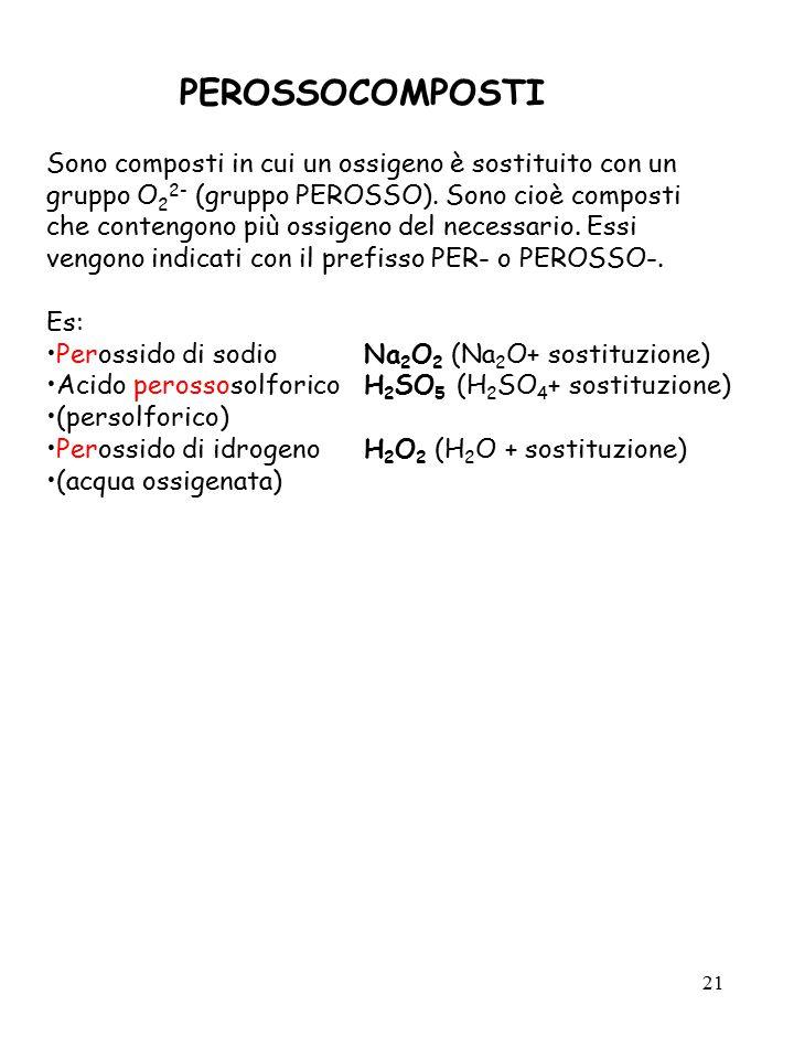 21 PEROSSOCOMPOSTI Sono composti in cui un ossigeno è sostituito con un gruppo O 2 2- (gruppo PEROSSO). Sono cioè composti che contengono più ossigeno