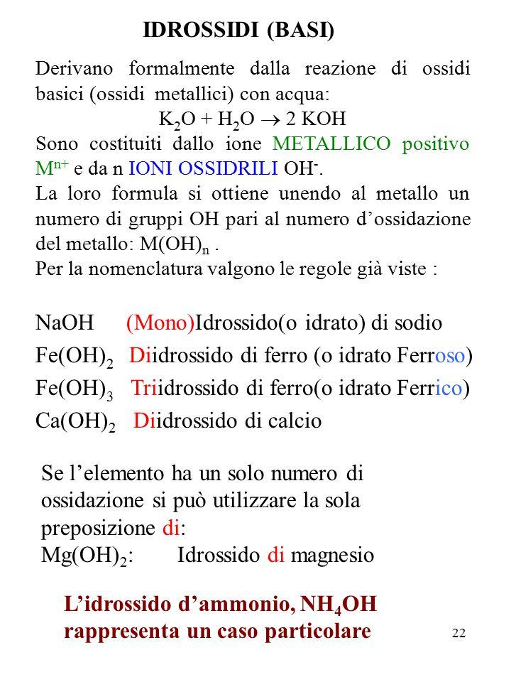 22 IDROSSIDI (BASI) Derivano formalmente dalla reazione di ossidi basici (ossidi metallici) con acqua: K 2 O + H 2 O  2 KOH Sono costituiti dallo ion