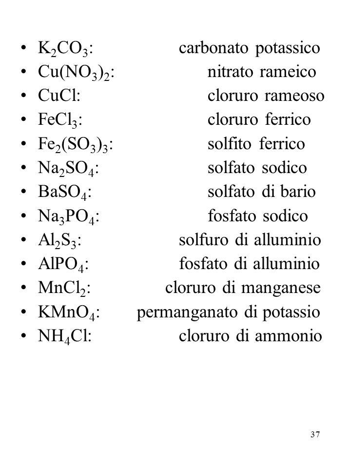37 K 2 CO 3 : carbonato potassico Cu(NO 3 ) 2 :nitrato rameico CuCl:cloruro rameoso FeCl 3 :cloruro ferrico Fe 2 (SO 3 ) 3 :solfito ferrico Na 2 SO 4