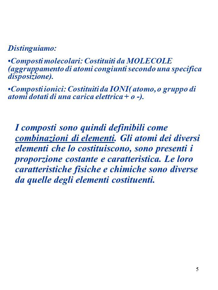 5 Distinguiamo: Composti molecolari: Costituiti da MOLECOLE (aggruppamento di atomi congiunti secondo una specifica disposizione). Composti ionici: Co