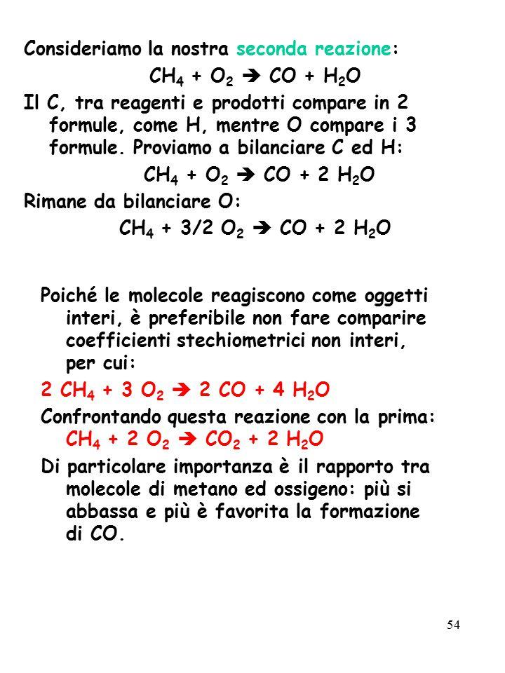 54 Consideriamo la nostra seconda reazione: CH 4 + O 2  CO + H 2 O Il C, tra reagenti e prodotti compare in 2 formule, come H, mentre O compare i 3 f