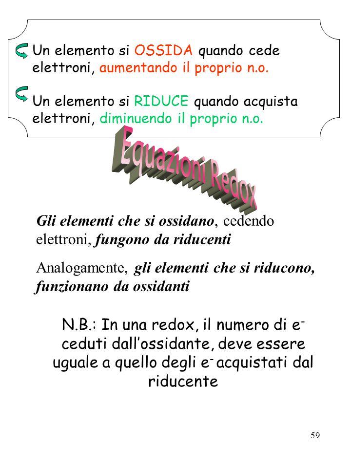 59 Un elemento si OSSIDA quando cede elettroni, aumentando il proprio n.o. Un elemento si RIDUCE quando acquista elettroni, diminuendo il proprio n.o.
