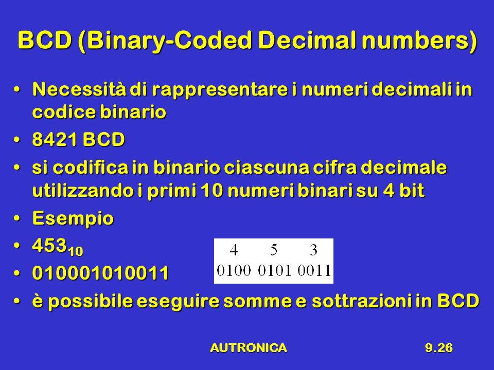 AUTRONICA9.26 BCD (Binary-Coded Decimal numbers) Necessità di rappresentare i numeri decimali in codice binarioNecessità di rappresentare i numeri decimali in codice binario 8421 BCD8421 BCD si codifica in binario ciascuna cifra decimale utilizzando i primi 10 numeri binari su 4 bitsi codifica in binario ciascuna cifra decimale utilizzando i primi 10 numeri binari su 4 bit EsempioEsempio 453 10453 10 010001010011010001010011 è possibile eseguire somme e sottrazioni in BCDè possibile eseguire somme e sottrazioni in BCD