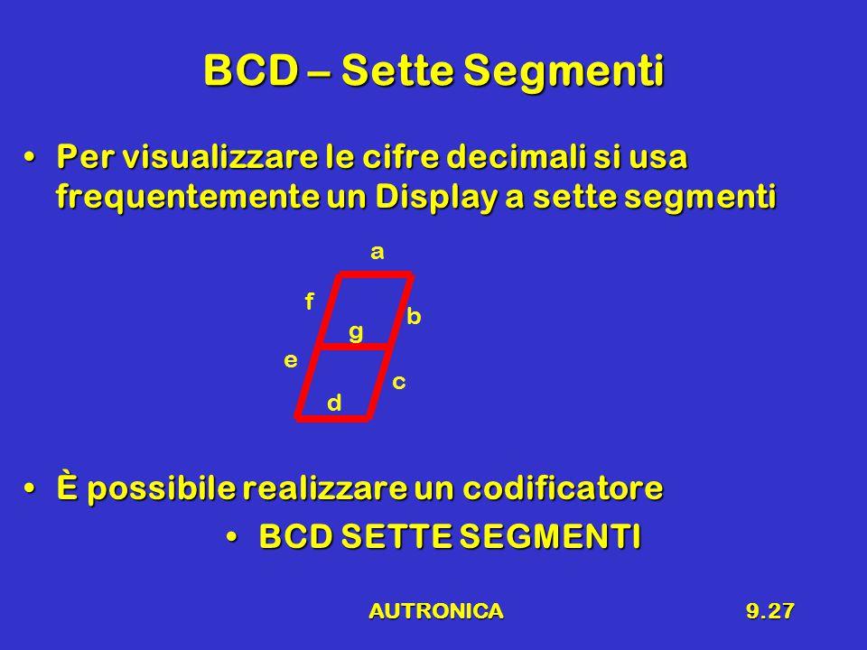AUTRONICA9.27 BCD – Sette Segmenti Per visualizzare le cifre decimali si usa frequentemente un Display a sette segmentiPer visualizzare le cifre decimali si usa frequentemente un Display a sette segmenti È possibile realizzare un codificatoreÈ possibile realizzare un codificatore BCD SETTE SEGMENTIBCD SETTE SEGMENTI a b c e f d g