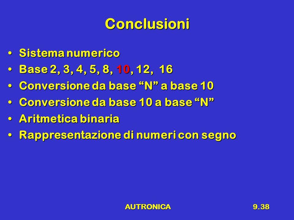 AUTRONICA9.38 Conclusioni Sistema numericoSistema numerico Base 2, 3, 4, 5, 8, 10, 12, 16Base 2, 3, 4, 5, 8, 10, 12, 16 Conversione da base N a base 10Conversione da base N a base 10 Conversione da base 10 a base N Conversione da base 10 a base N Aritmetica binariaAritmetica binaria Rappresentazione di numeri con segnoRappresentazione di numeri con segno
