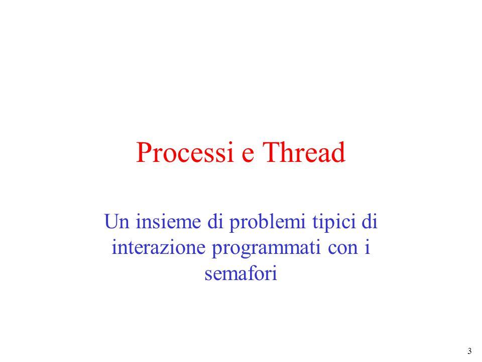 3 Processi e Thread Un insieme di problemi tipici di interazione programmati con i semafori